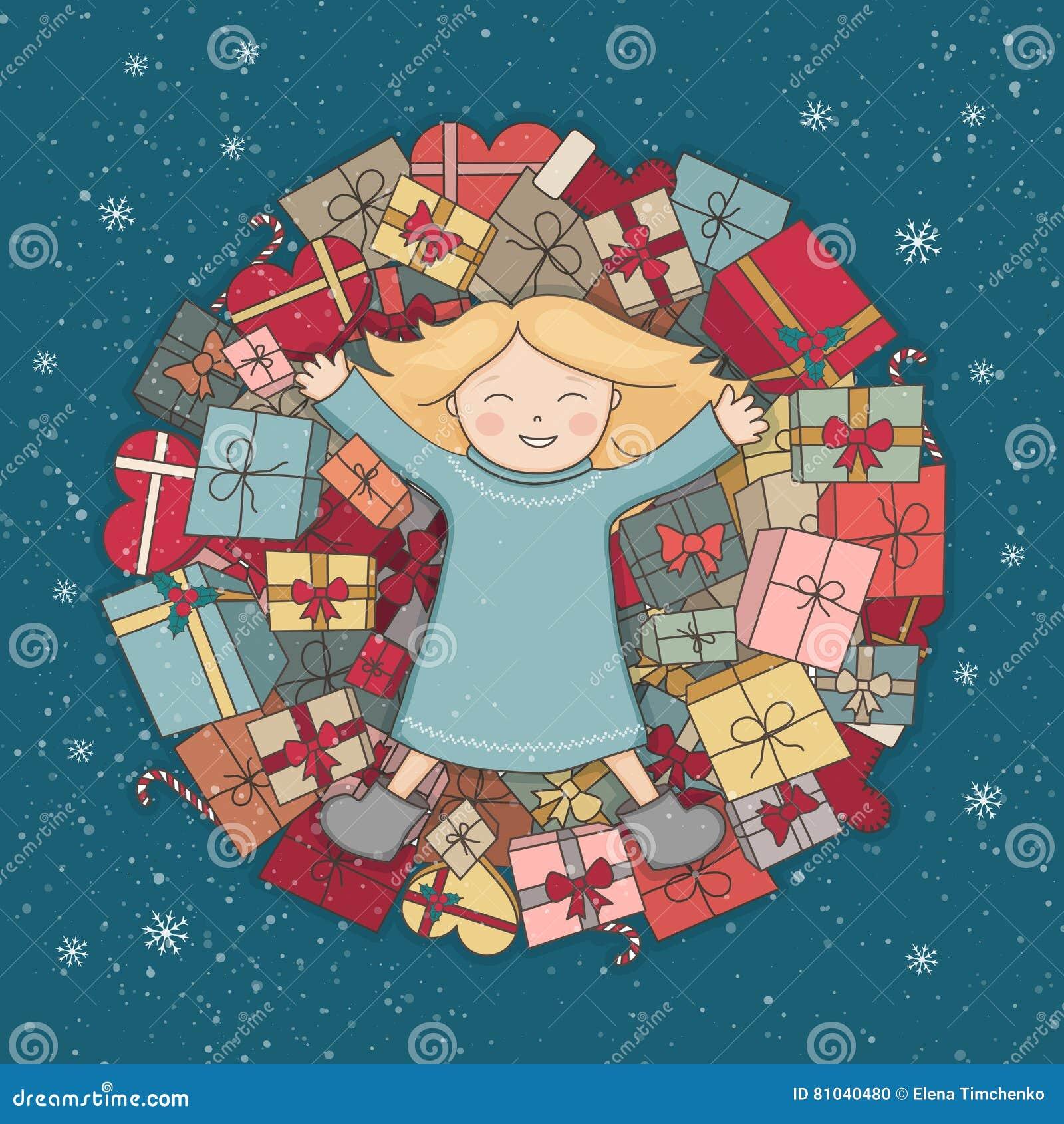 Halne teraźniejszość Dziecko otrzymywał prezent Bożenarodzeniowa ilustracja karcianych dzień powitania irysów macierzysty s wekto