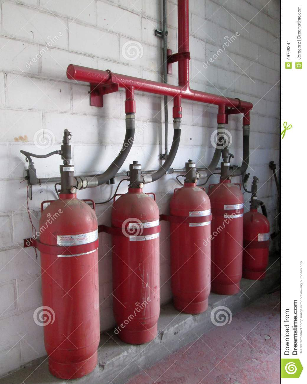 Halon 1301 Cylinders Fire Extinguisher System Stock Photo