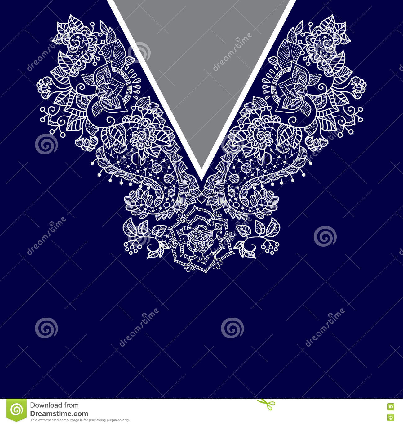 Hals för två blommor för färger etnisk Paisley dekorativ gräns
