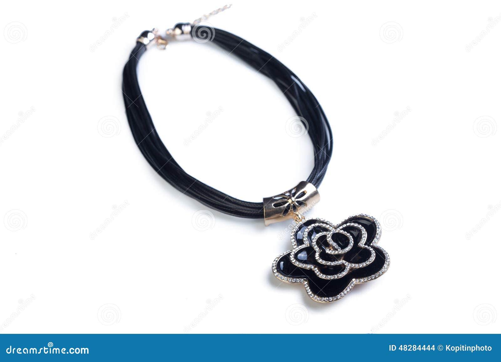 Halsband svart blomma