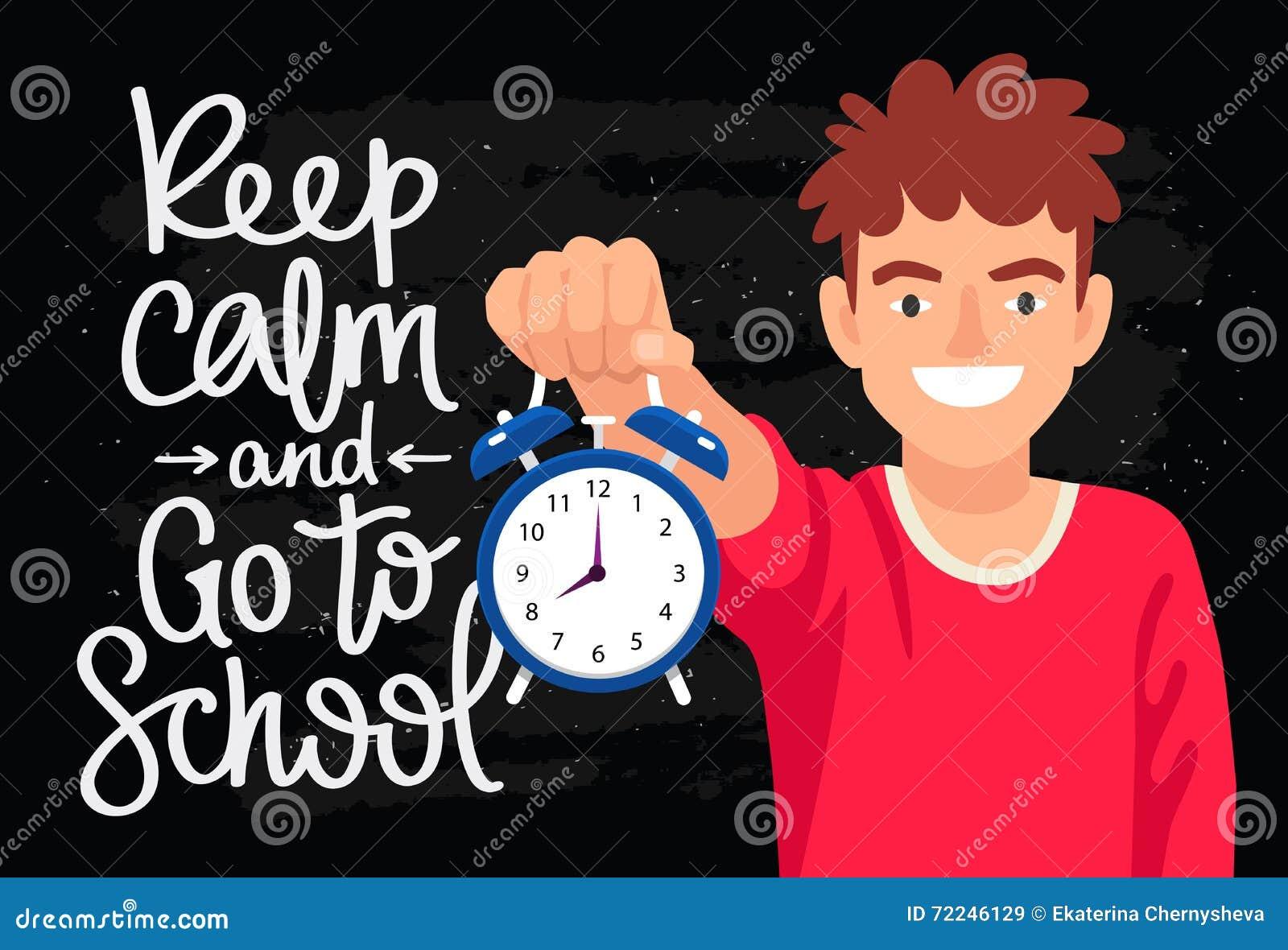 Halten Sie Ruhe Und Gehen Sie Zur Schule Vektor Abbildung ...