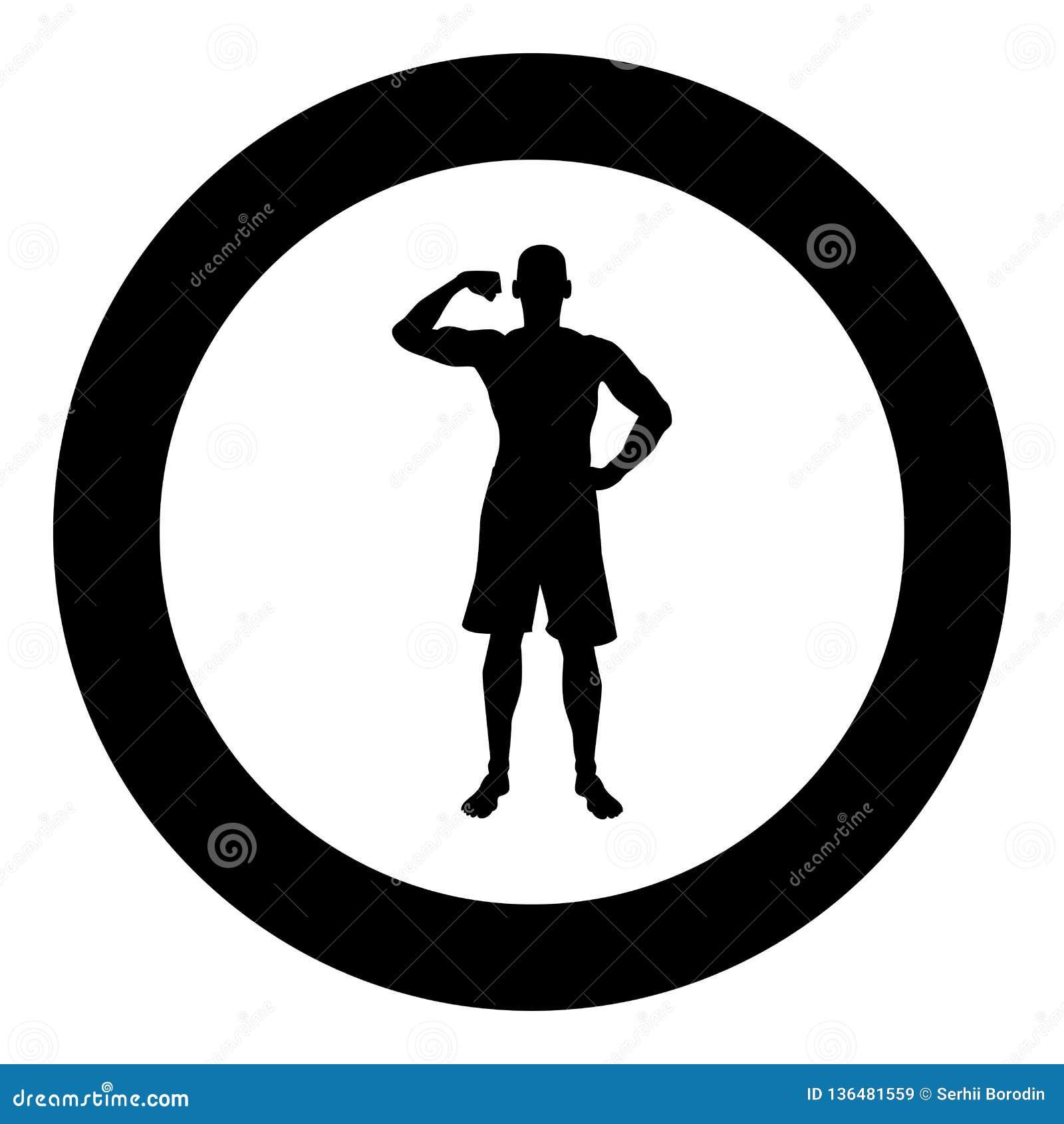 Halterofilista que mostra a silhueta do conceito do esporte do halterofilismo dos músculos do bíceps o ícone da vista dianteira i