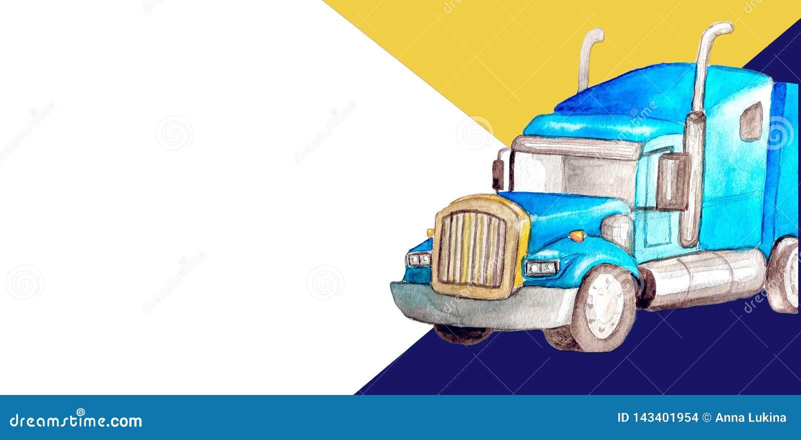 Halv-släp för vattenfärg för mallaffärskort blå främre lastbil som en traktorenhet och halv-släp som bär frakter