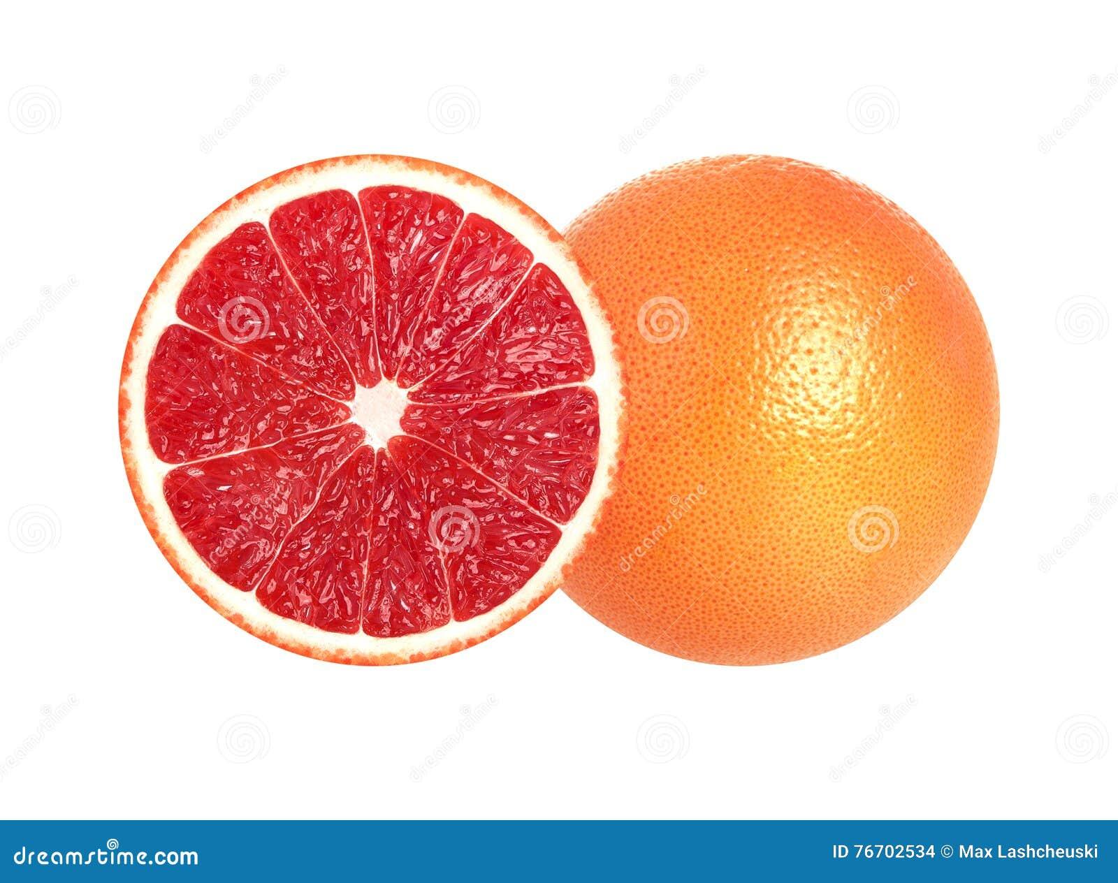 Halva av grapefrukten som isoleras på vit bakgrund