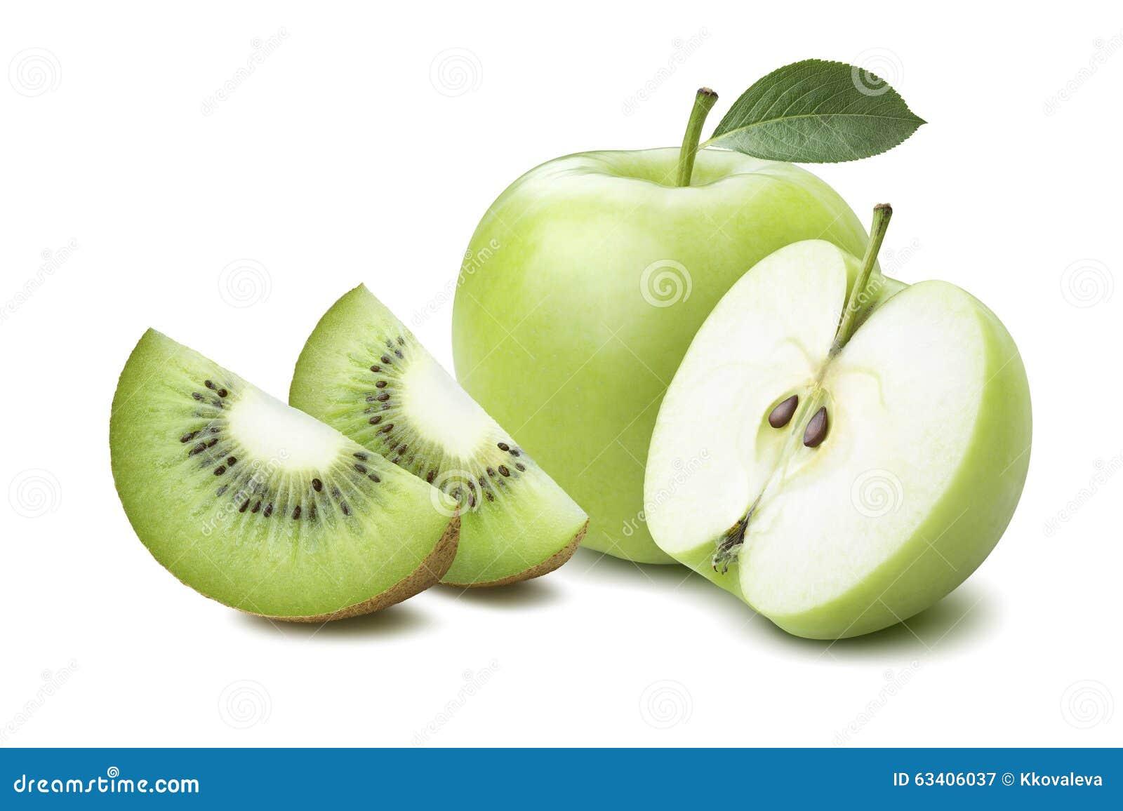 Halva kiwifjärdedelar för helt äpple som isoleras på vit