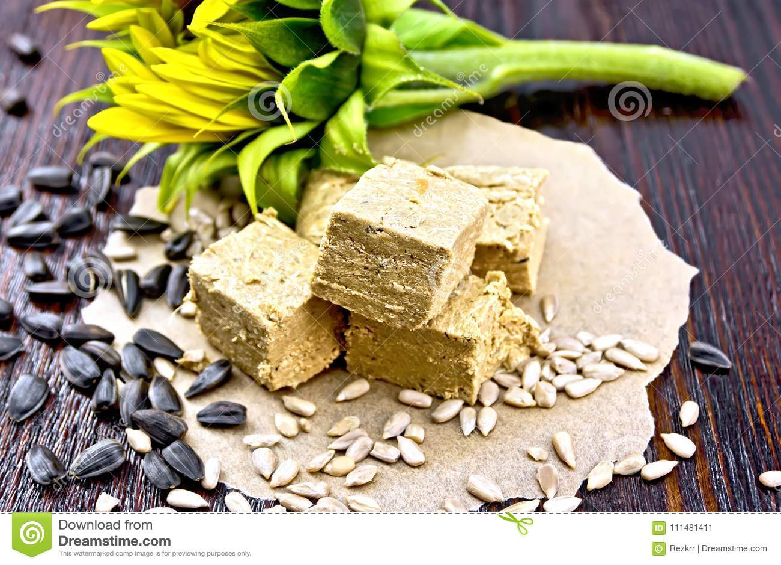 Halva On Paper With Sunflower Stock Image Image Of Halva