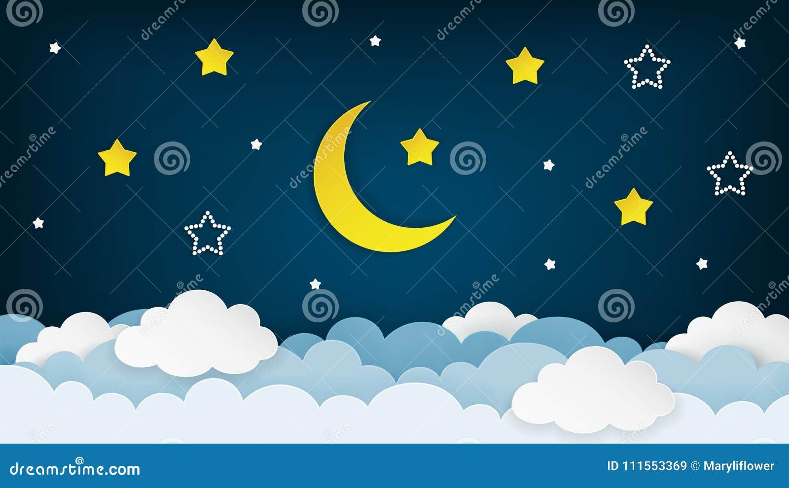 Halve maan, sterren en wolken op de donkere achtergrond van de nachthemel Document art. De achtergrond van de nachtscène Vector