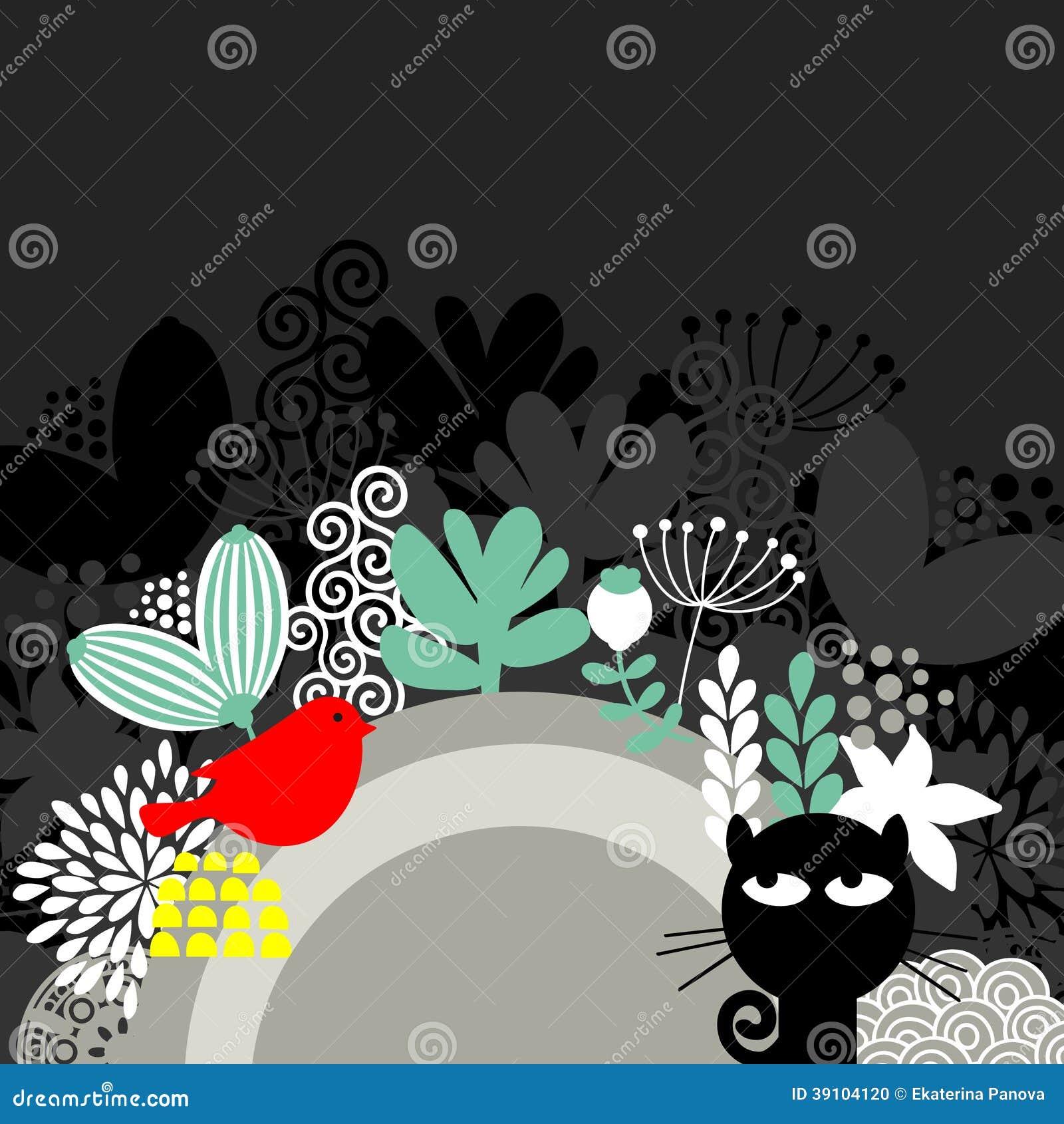 Halve ronde banner met zwarte kat en rode vogel.