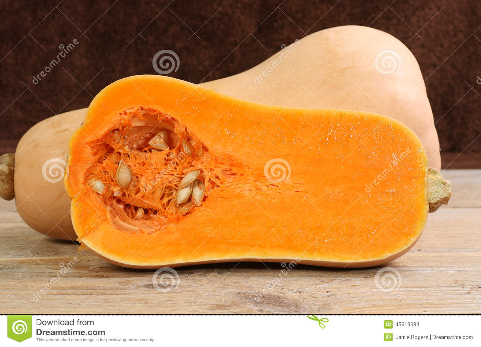 Halved butternut squash