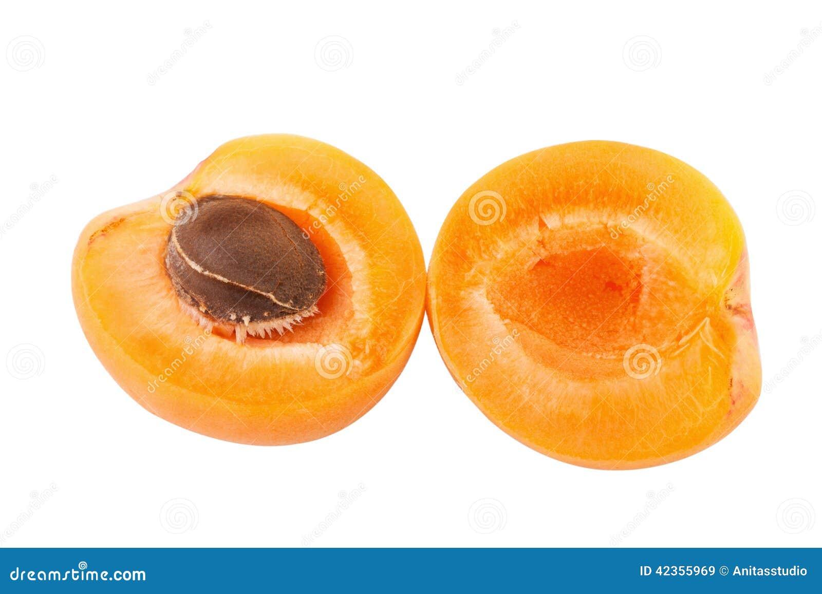 Halves of apricot