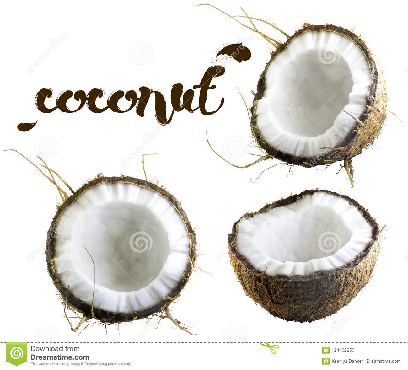 Halves of coconut on a white background