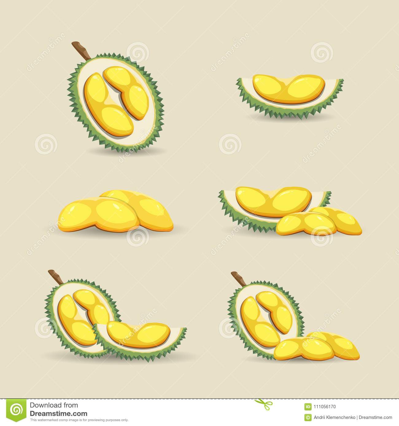 halves of a tropical durian fruit on a light background. fresh and
