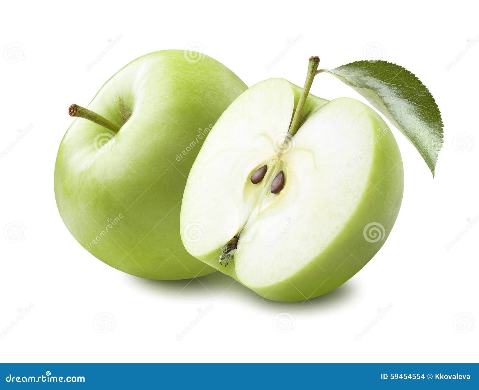 Halvt blad för grönt äpple som isoleras på vit bakgrund