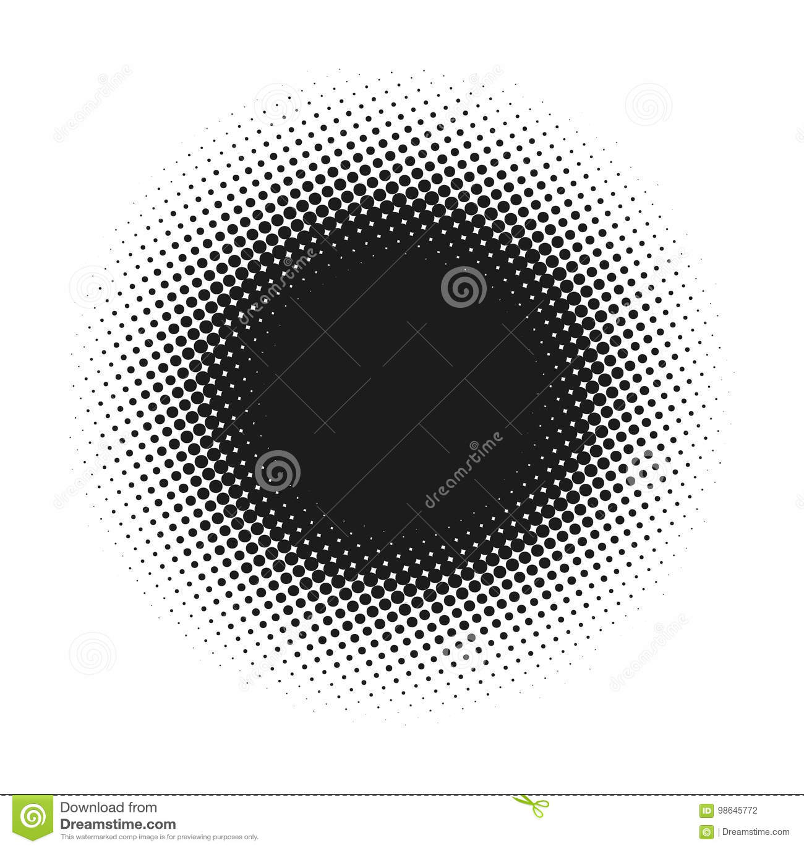Halvton prucken vektorabstrakt begreppbakgrund, prickmodell i cirkelform Svart komiskt baner isolerad vit bakgrund