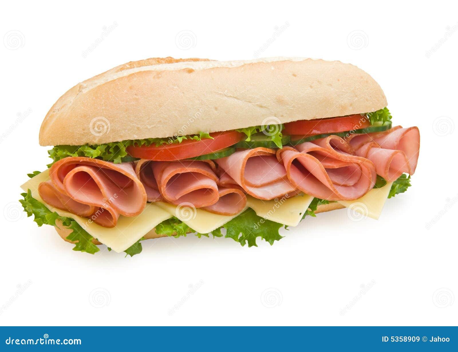 Ham & Zwitserse subsandwich op witte achtergrond