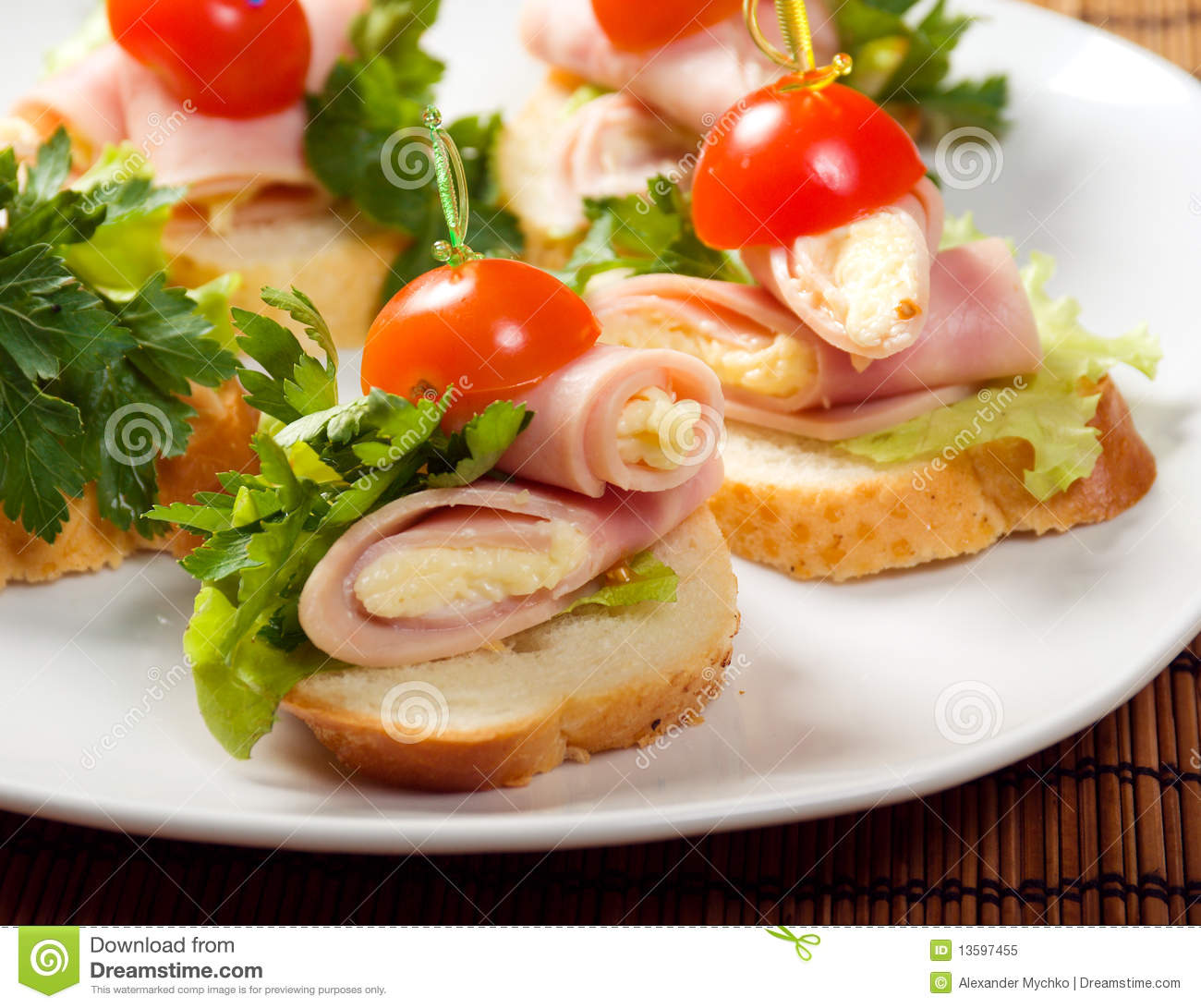 Ham canape royalty free stock photo image 13597455 for Canape vector download