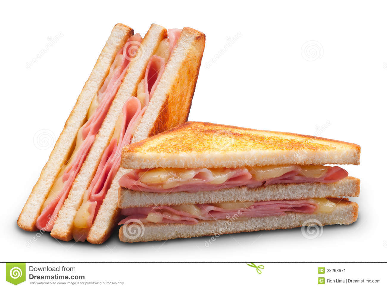 Ham And Cheese Double Panini Sandwich Stock Image - Image ...