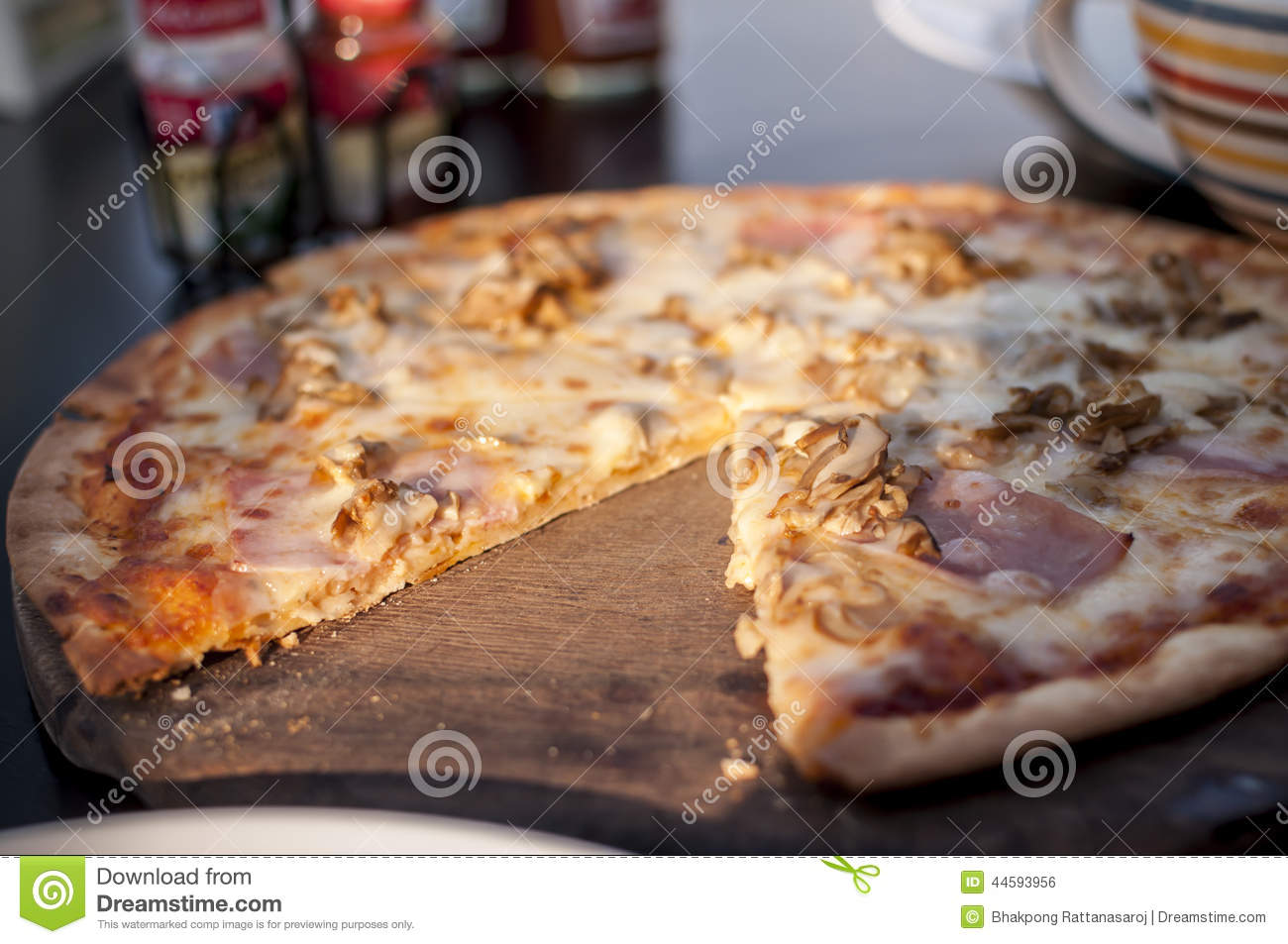 pizza with ham and cheese stock photo 23753286. Black Bedroom Furniture Sets. Home Design Ideas