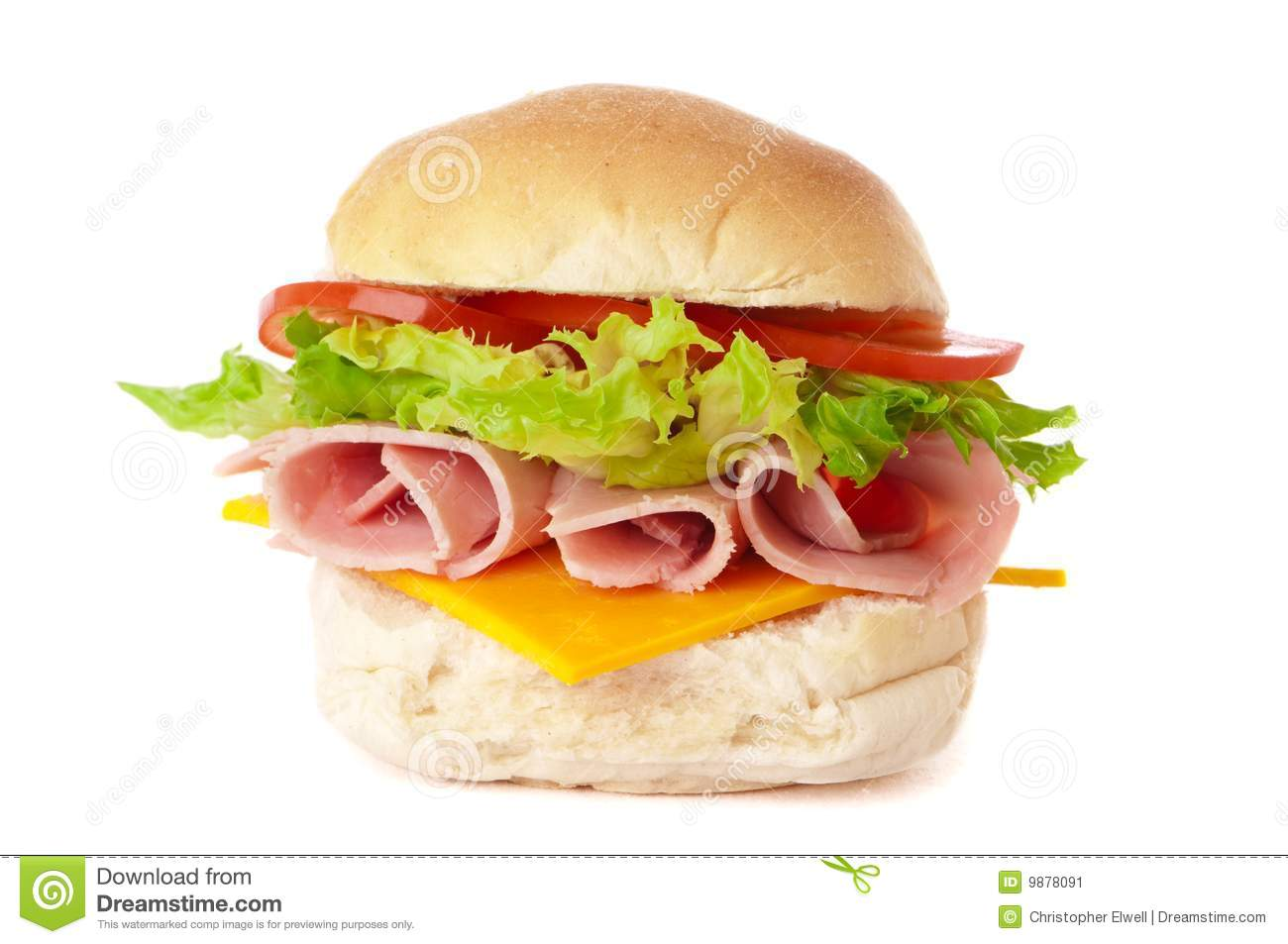 Filled bread roll with ham and cheese salad on white background.