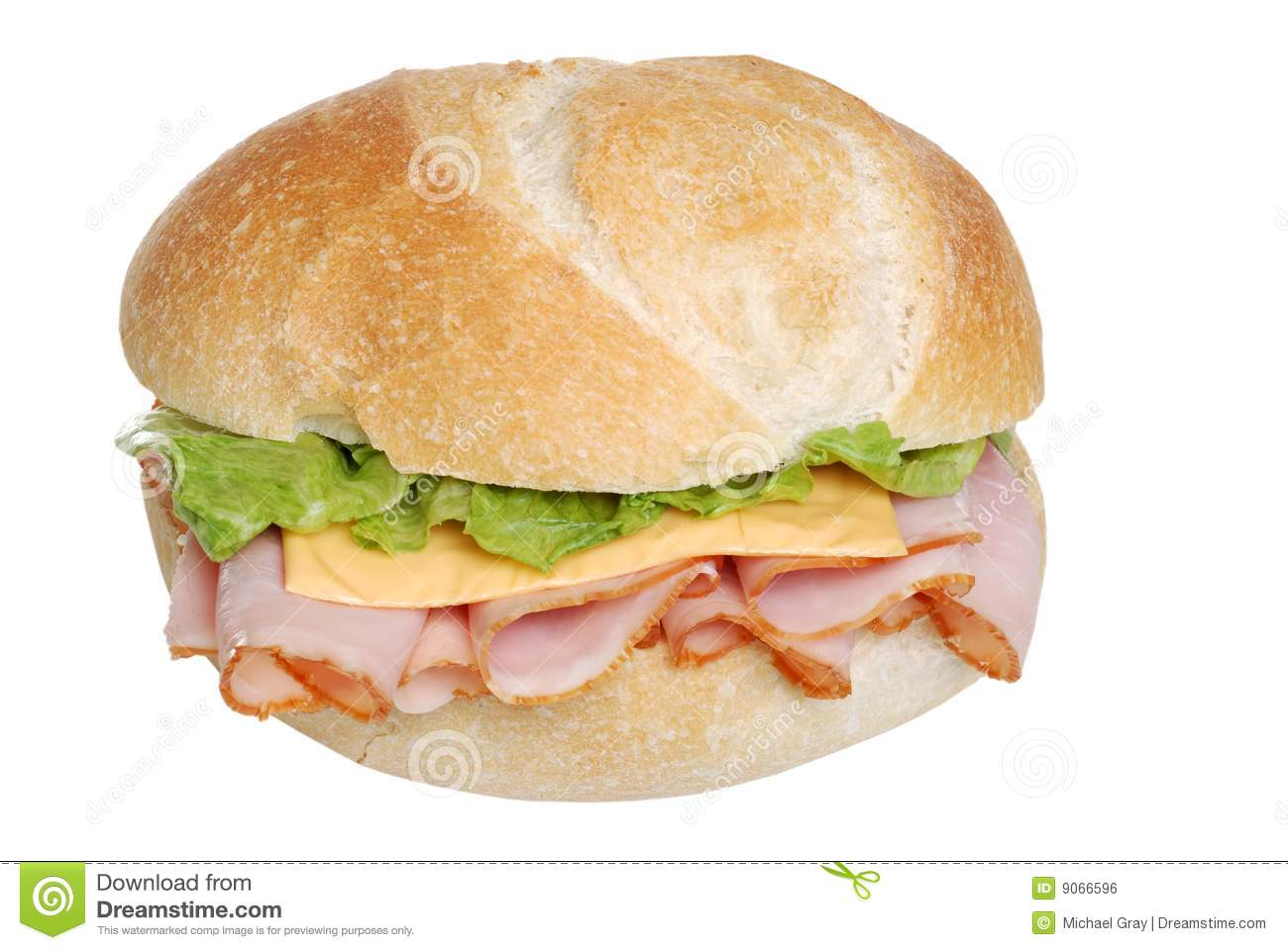 Ham And Cheese Sandwich On A Bun Isolated Royalty Free Stock Image ...