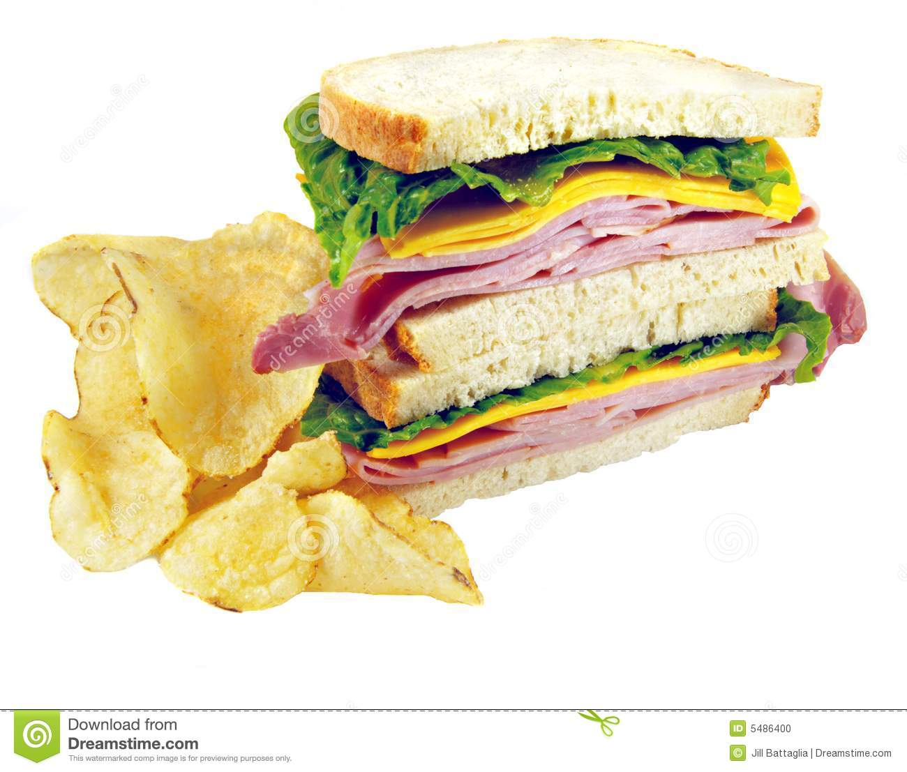 Ham And Cheese Sandwich With Chips Stock Photo - Image ...