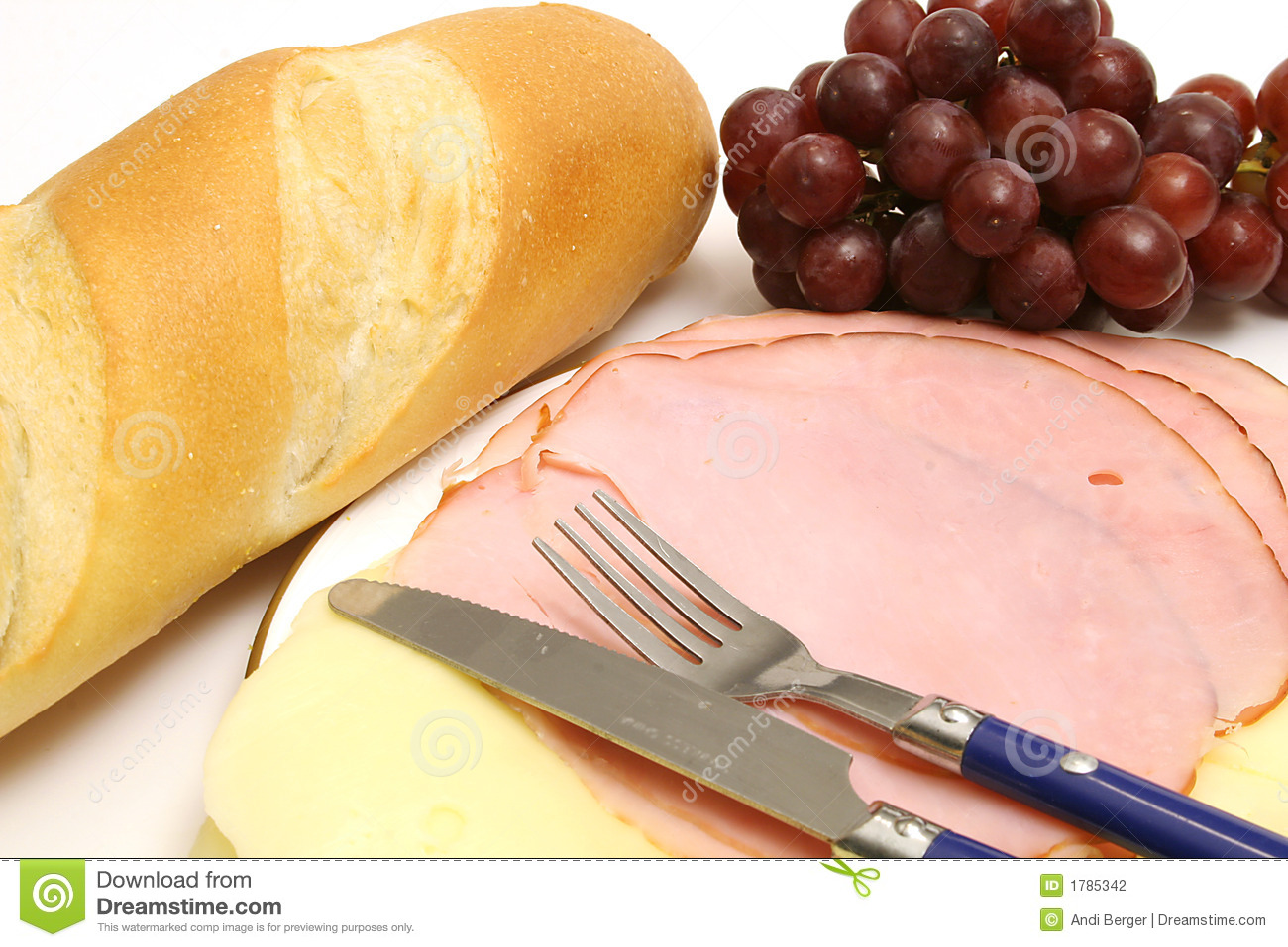 Stock Photography Ham Cheese W Bread Grapes Image1785342 on turkey lunch meat nutrition information