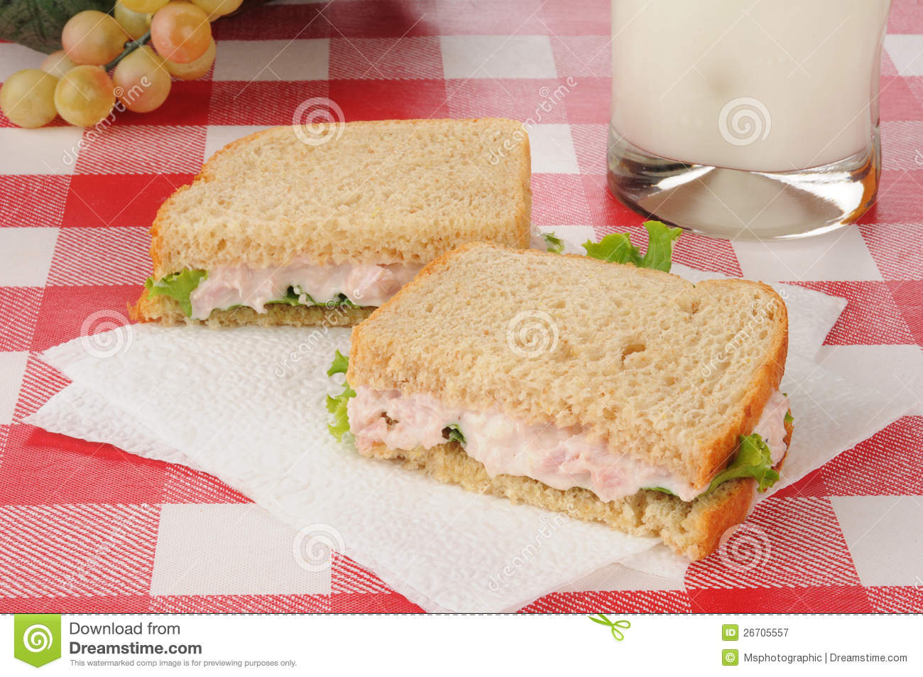 Ham Salad Sandwich And Milk Royalty Free Stock Photography - Image ...