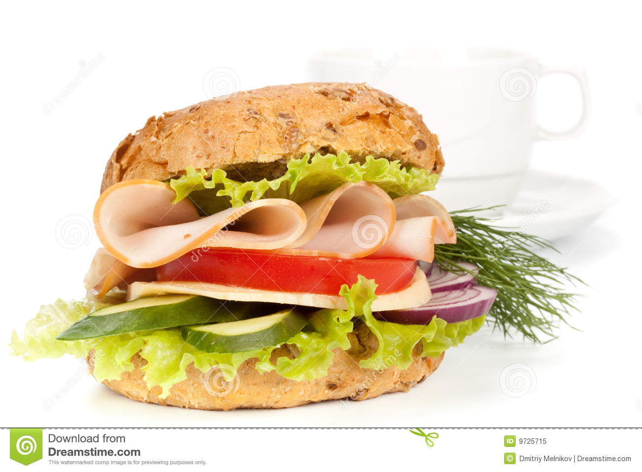 Ham Sandwich And Cup Of Coffee Royalty Free Stock Photo ...