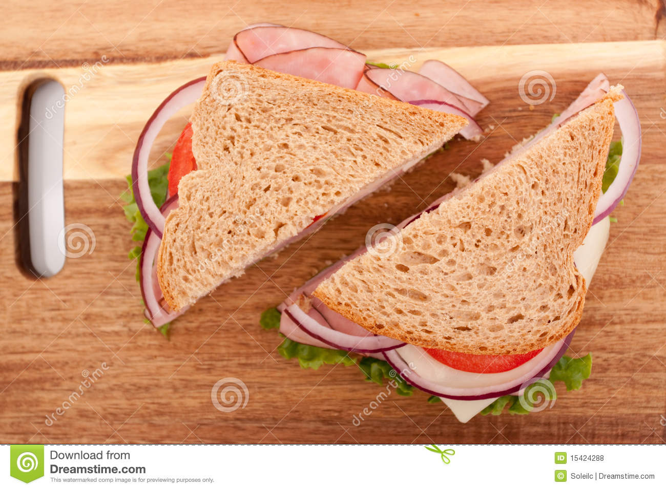 ham sandwich cut in half stock photo image of healthy 15424288
