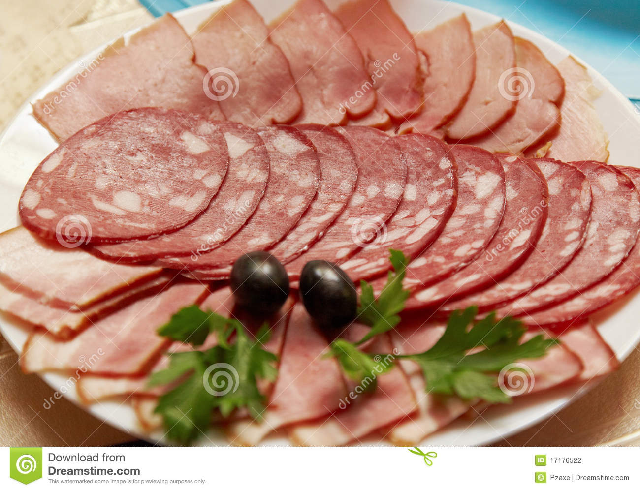 Ham And Sausage Served On Plate Stock Photo Image 17176522