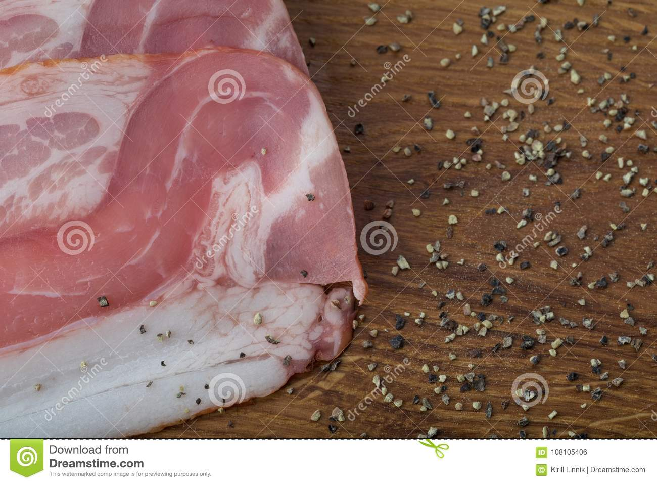 Download Ham on a wooden desk stock photo. Image of bacon, appetizer - 108105406