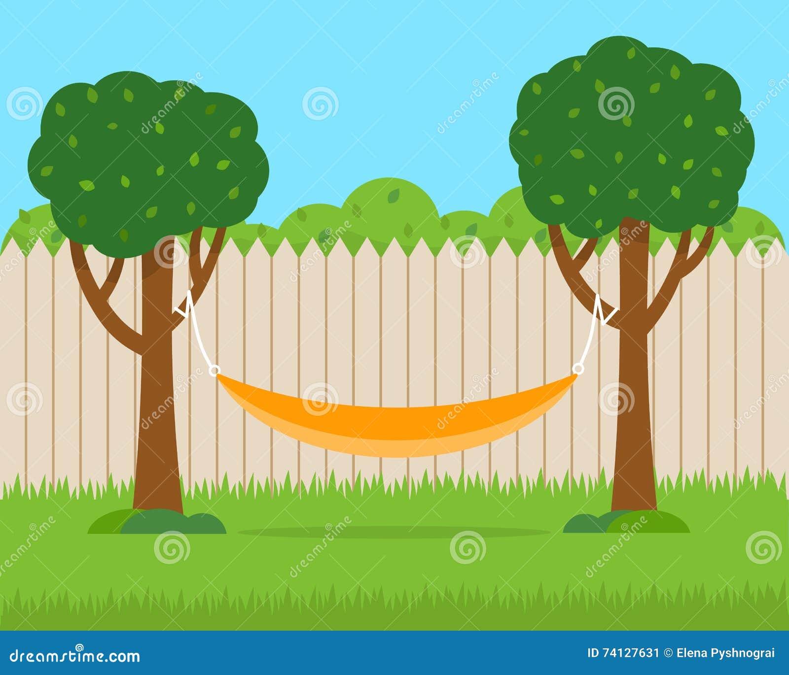 Hamac avec des arbres sur l arrière-cour de maison