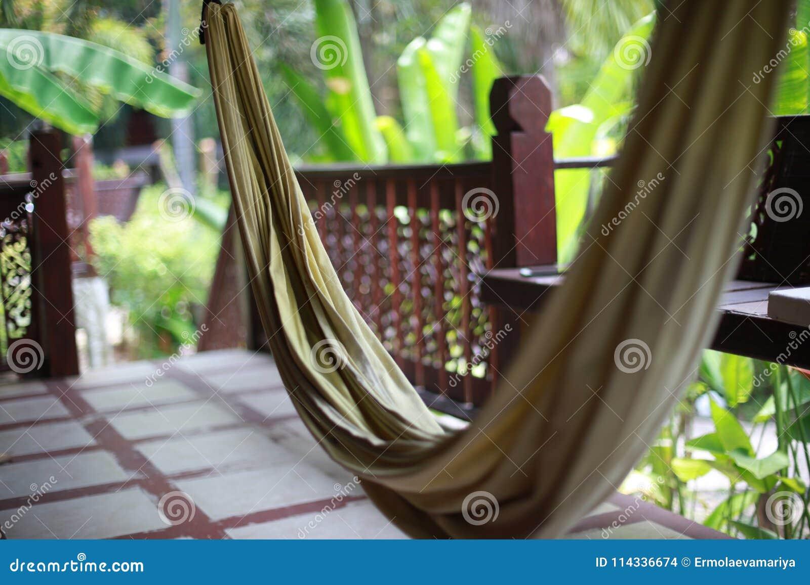 Hamac Sur La Terrasse Dune Villa Dans La Jungle Photo Stock Image