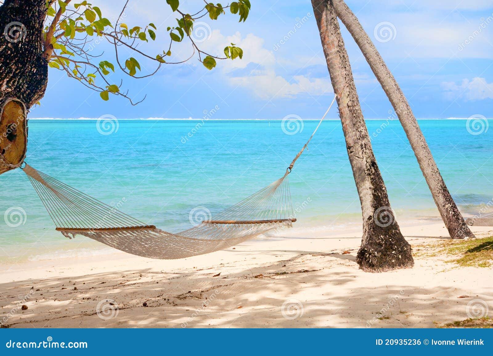 Hamaca en la playa tropical imagen de archivo libre de for Hamaca plegable playa