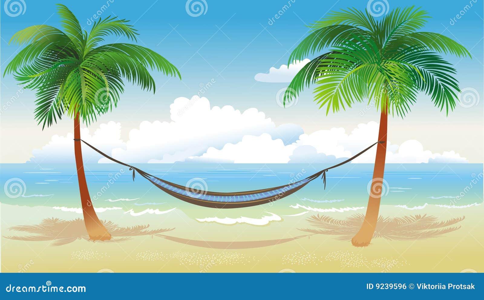 Hamaca y palmeras en la playa imagen de archivo libre de - Hamacas de playa ...