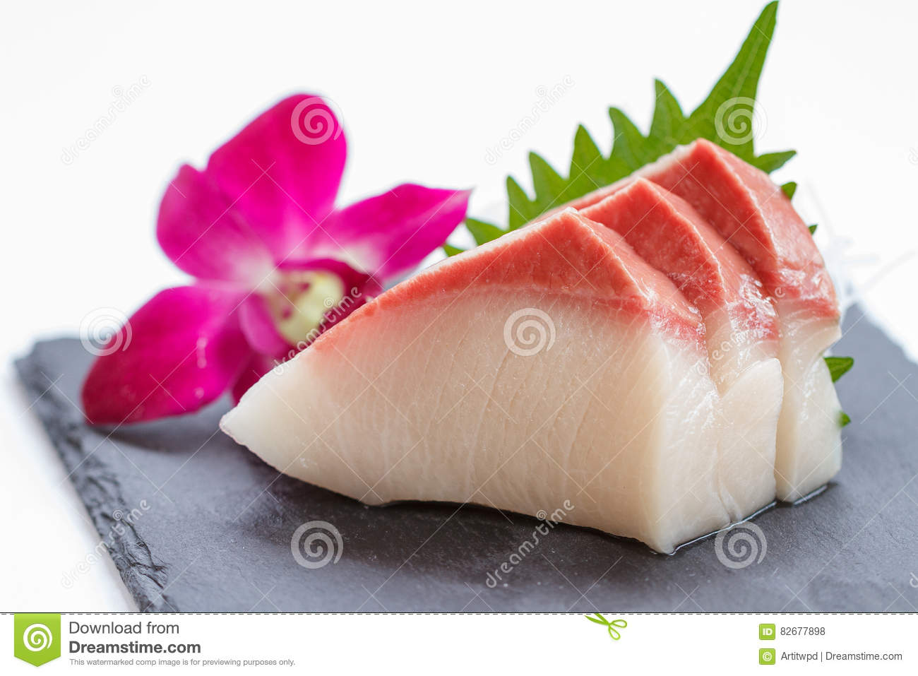 Hamachi Sashimi Sliced Raw Hamachi Yellowtail Fish Served With