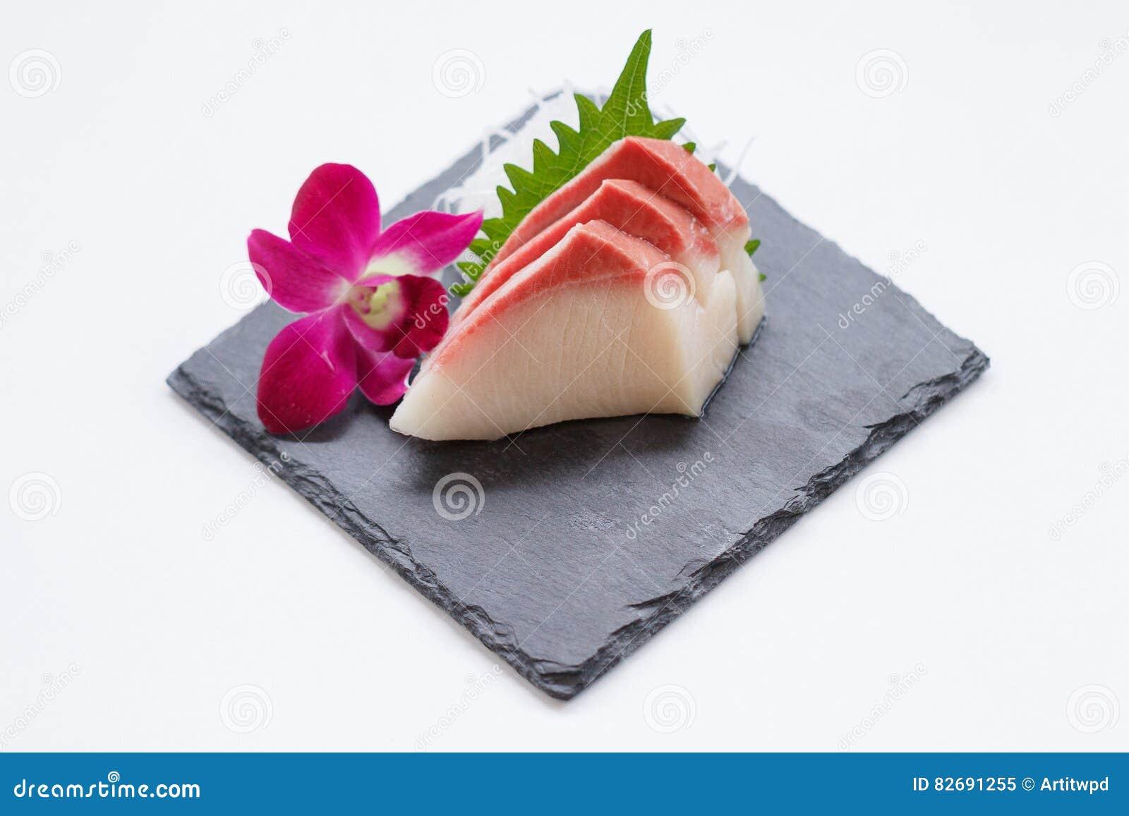 Hamachi Sashimi : Sliced Raw Hamachi Yellowtail Fish Served With