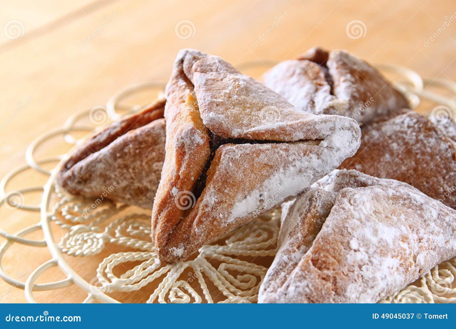 Hamantaschen kakor eller hamans gå i ax Purim beröm (judisk ferie) Filtrerad bild