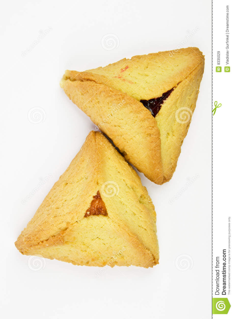Hamantashen pastries with apricot and raspberry
