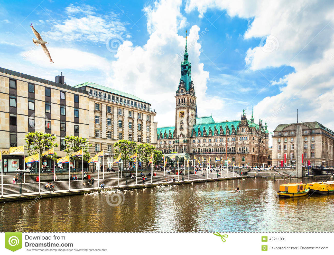 hamburg city center with town hall and alster river stock photo image 4321. Black Bedroom Furniture Sets. Home Design Ideas