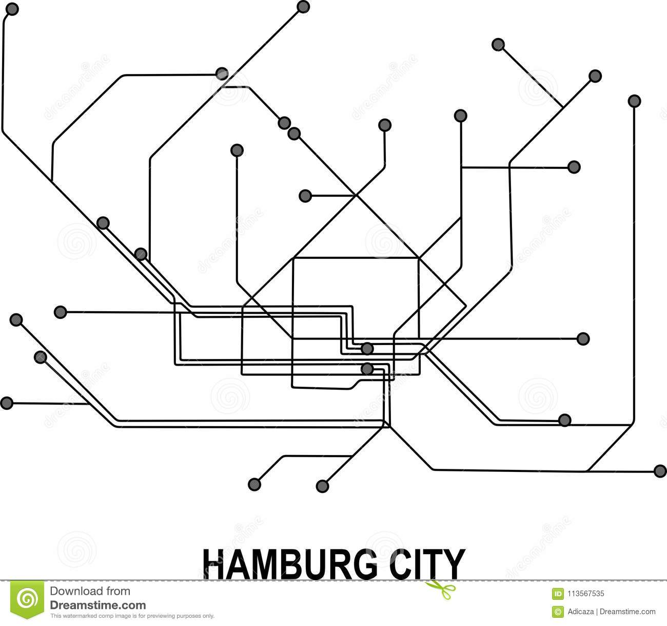 Hamburg Subway Map.Hamburg City Map Stock Vector Illustration Of Hamburg 113567535