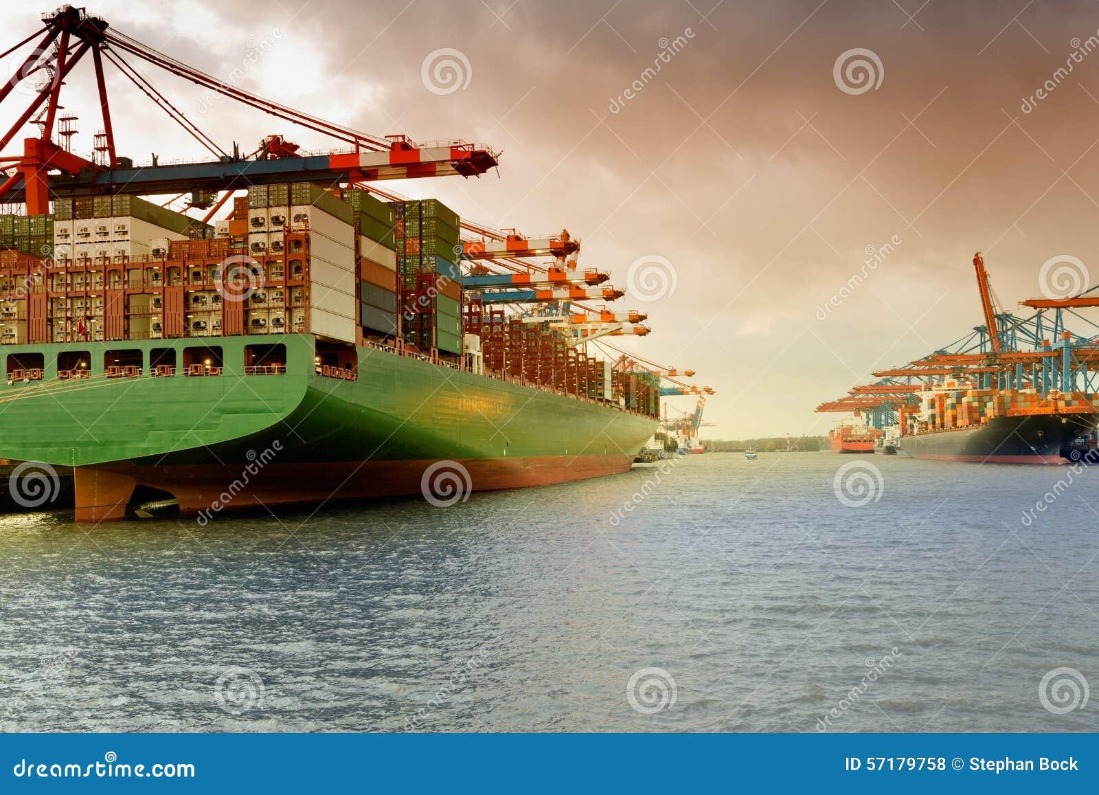 Hamburg, containerschip in de haven Waltershof