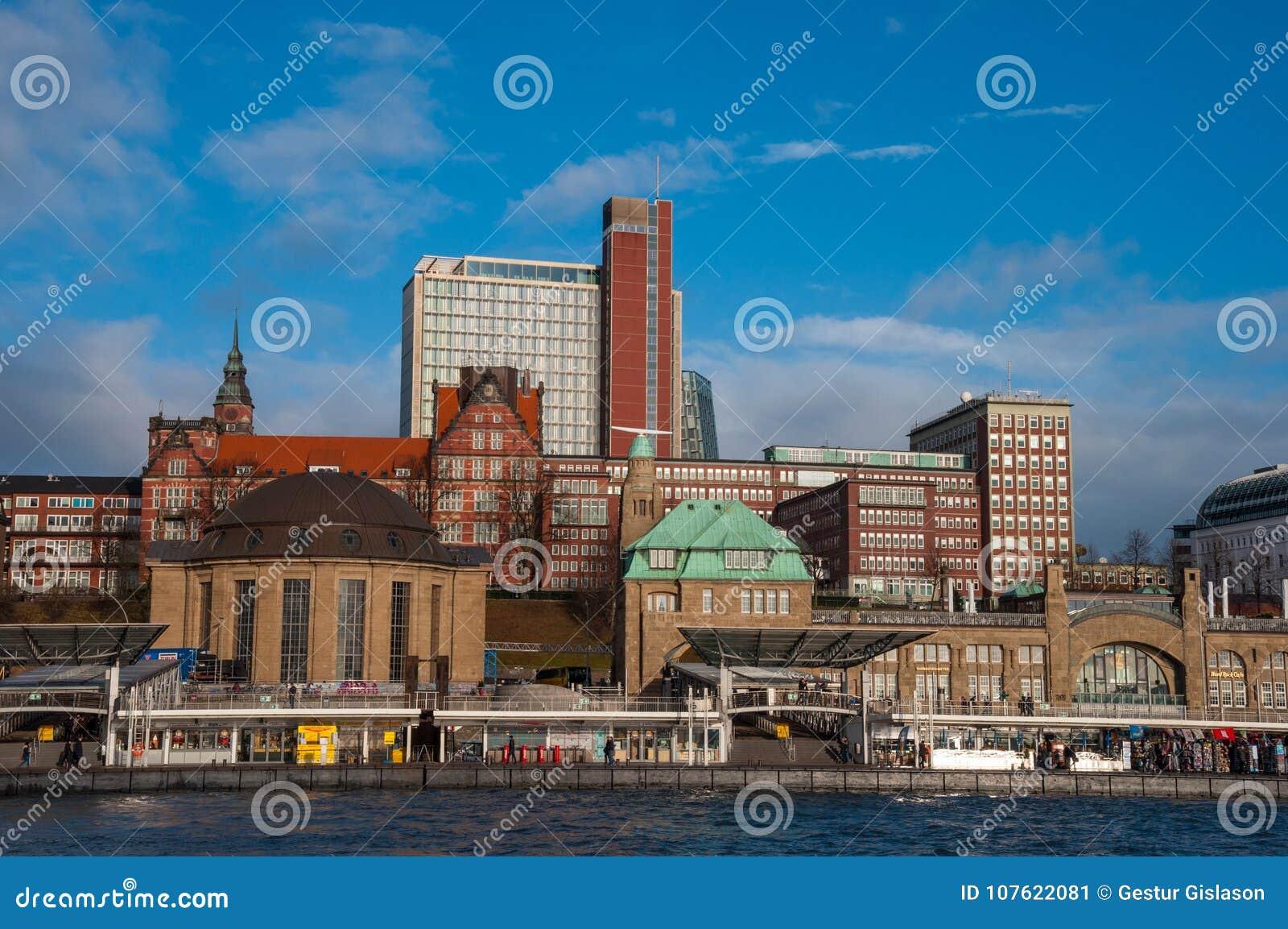 Landungsbrucken pier in Hamburg Germany