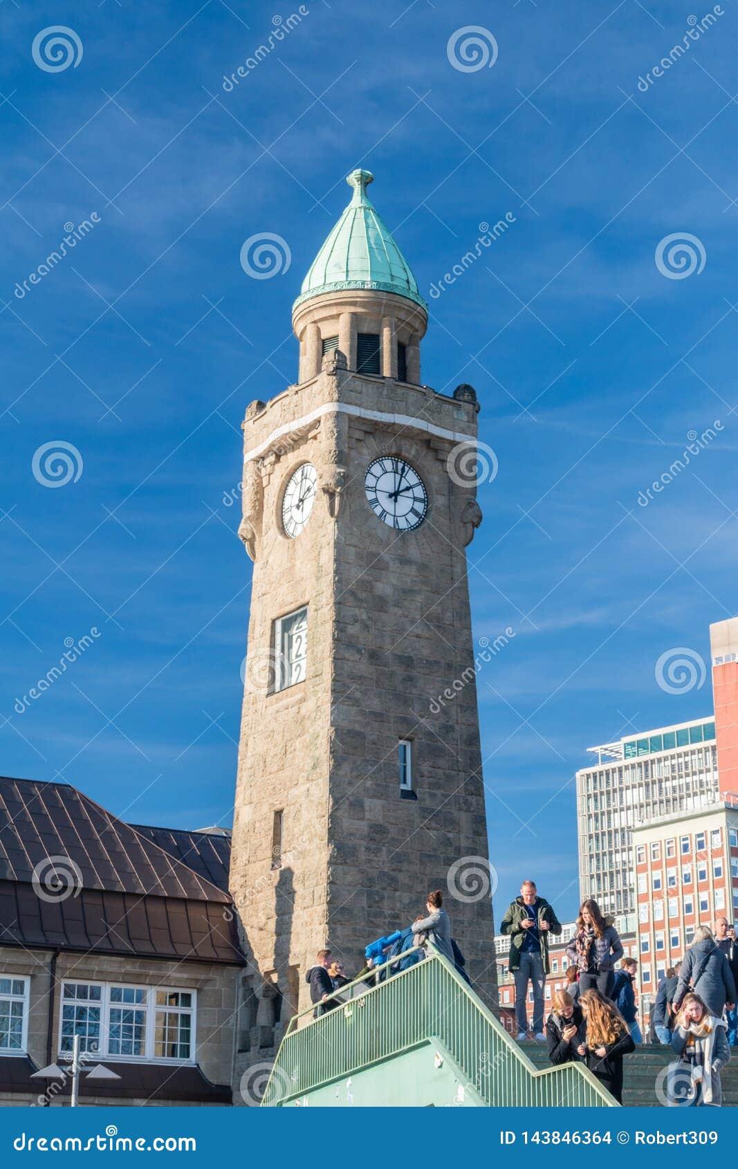 Clock tower of famous St. Pauli Landungsbrucken