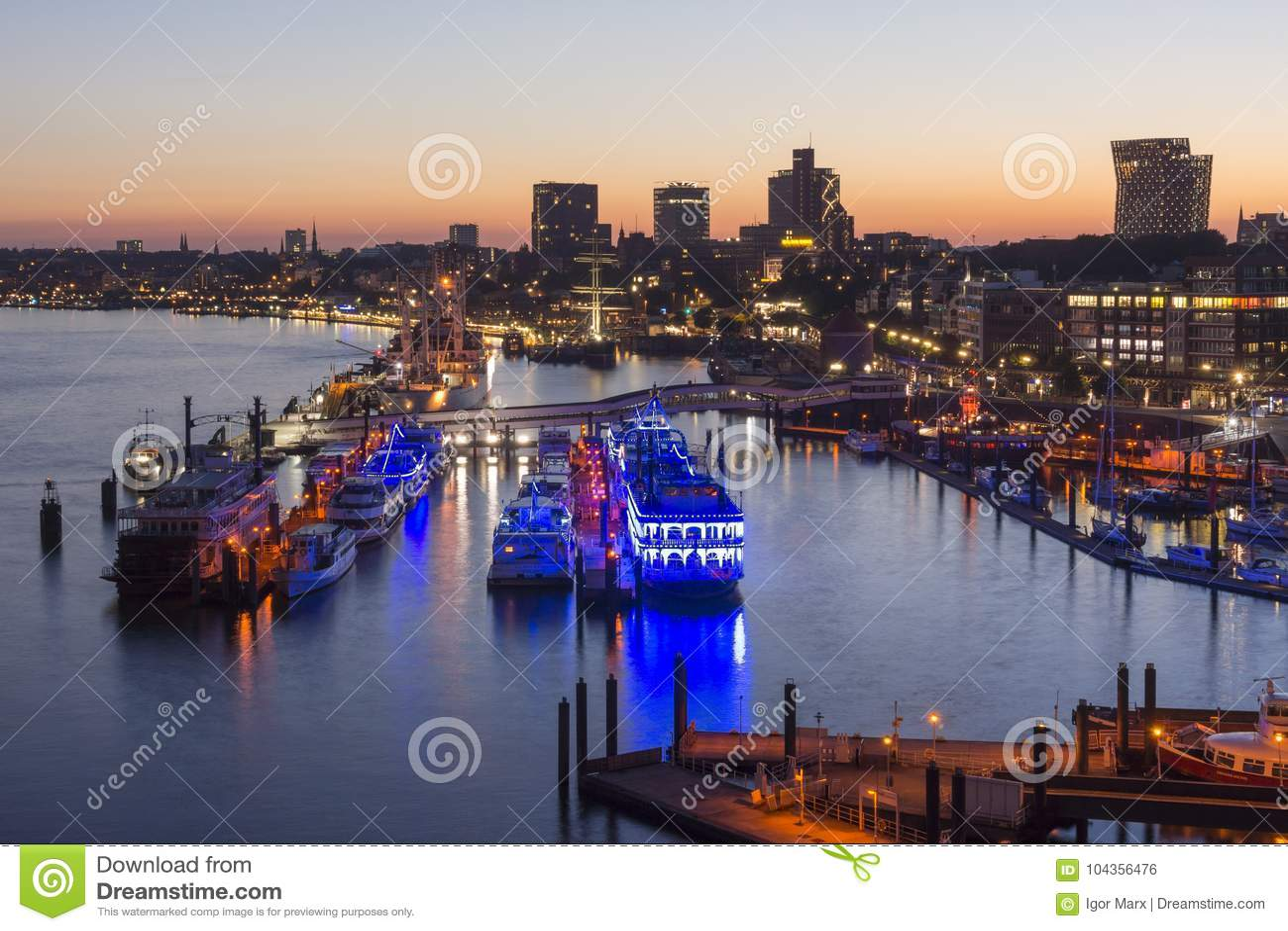 Hamburg, Germany - June 18, 2017: Hamburg harbor at summer evening