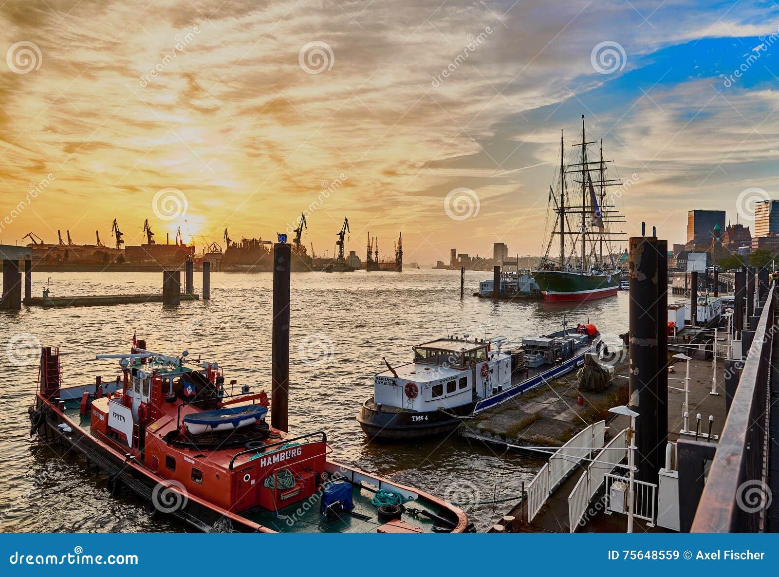 HAMBURG, GERMANY - NOVEMBER 01, 2016: Scenic sundown at harbor o