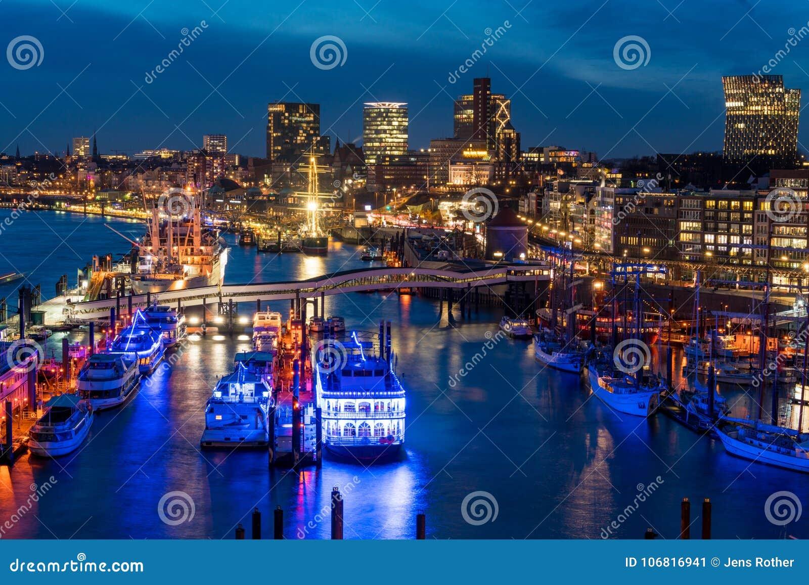 Hamburg harbor at nighttime from above