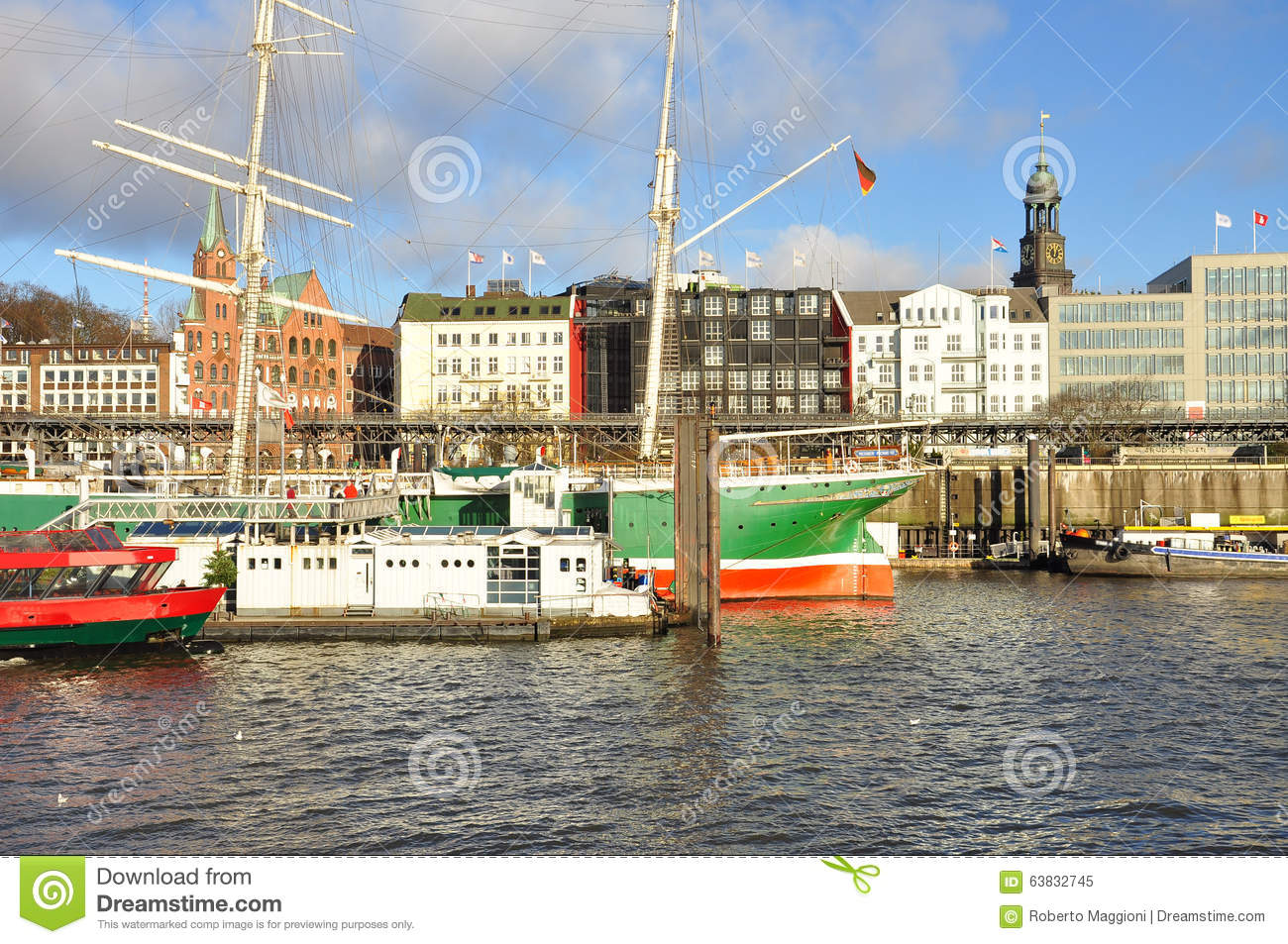 Stock photo hamburg germany riverside new - Hamburg Harbour And City Waterfront Germany Stock Photo