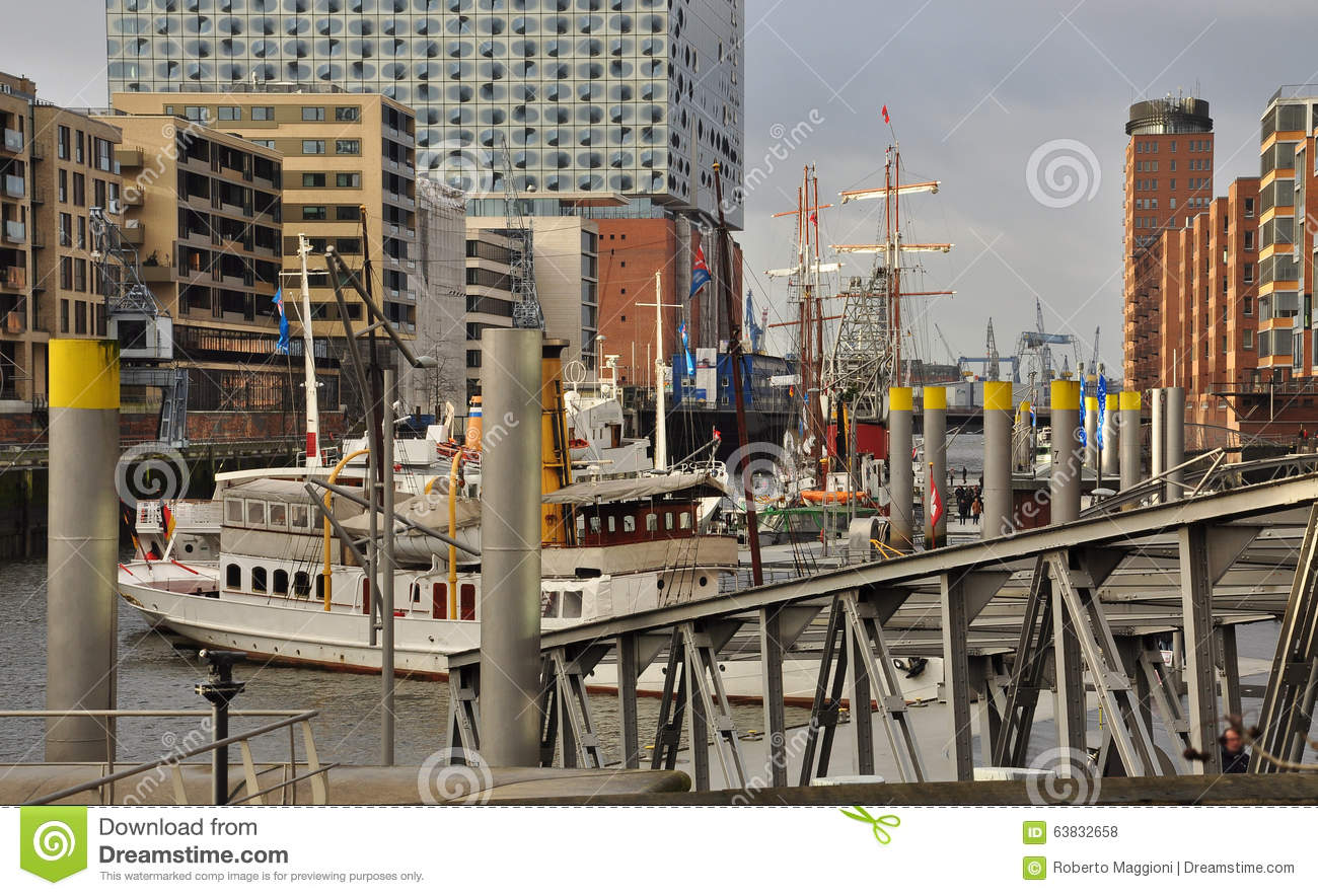 Stock photo hamburg germany riverside new - Royalty Free Stock Photo