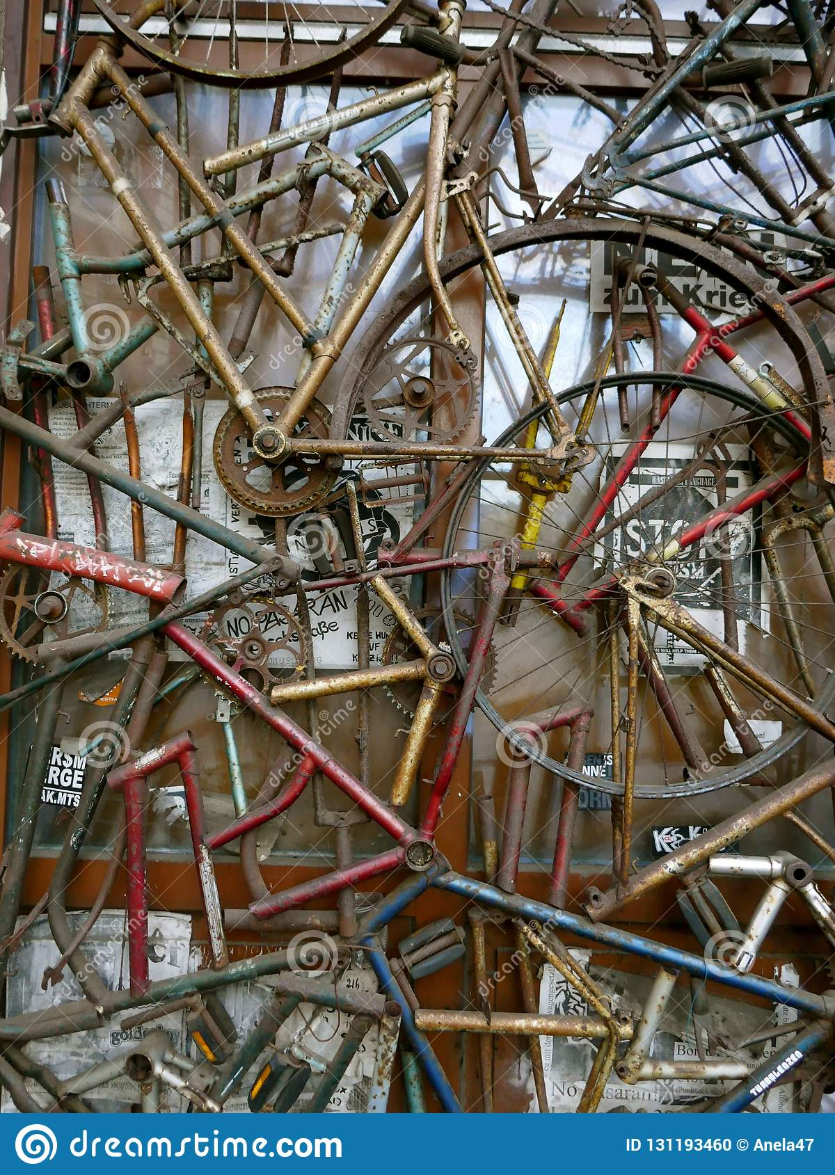 Street Art Bicycle Scrap Rusted Parts Of Old Bicycles Editorial